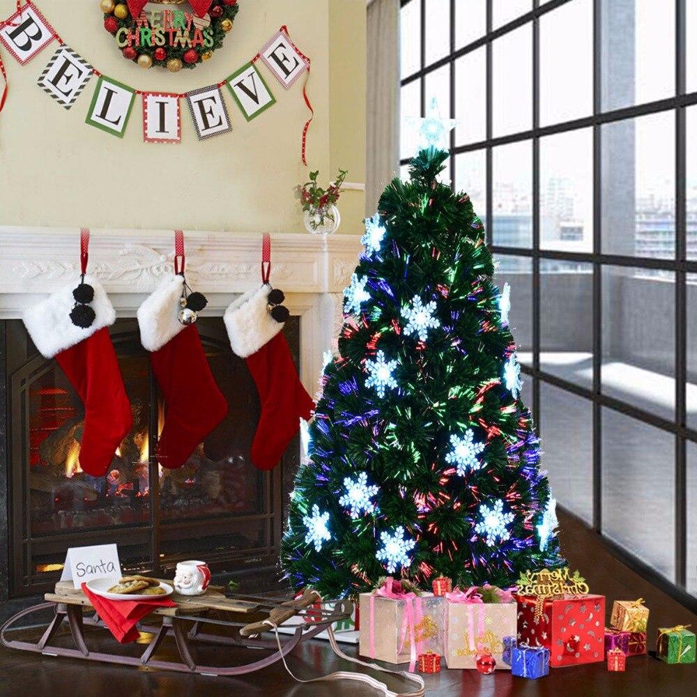 Goplus 5 Pre Lit Fiber Optic Artificial Christmas Tree w Multi Color Lights Snowflakes Christmas Decoration