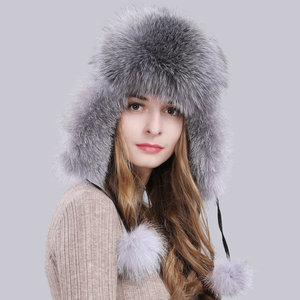 Image 5 - Женская шапка ушанки из натурального Лисьего меха, теплая шапка ушанки из натурального меха лисы, зима 2020