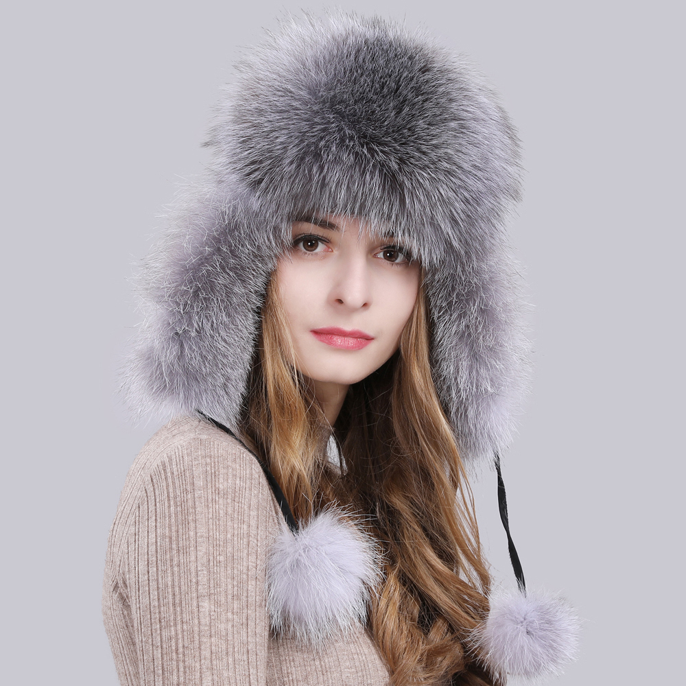 Image 5 - 2019 Hot Sale Women Natural Fox Fur Russian Ushanka Hats Winter Thick Warm Ears Fashion Bomber Hat Lady Genuine Real Fox Fur Cap-in Women's Bomber Hats from Apparel Accessories on AliExpress