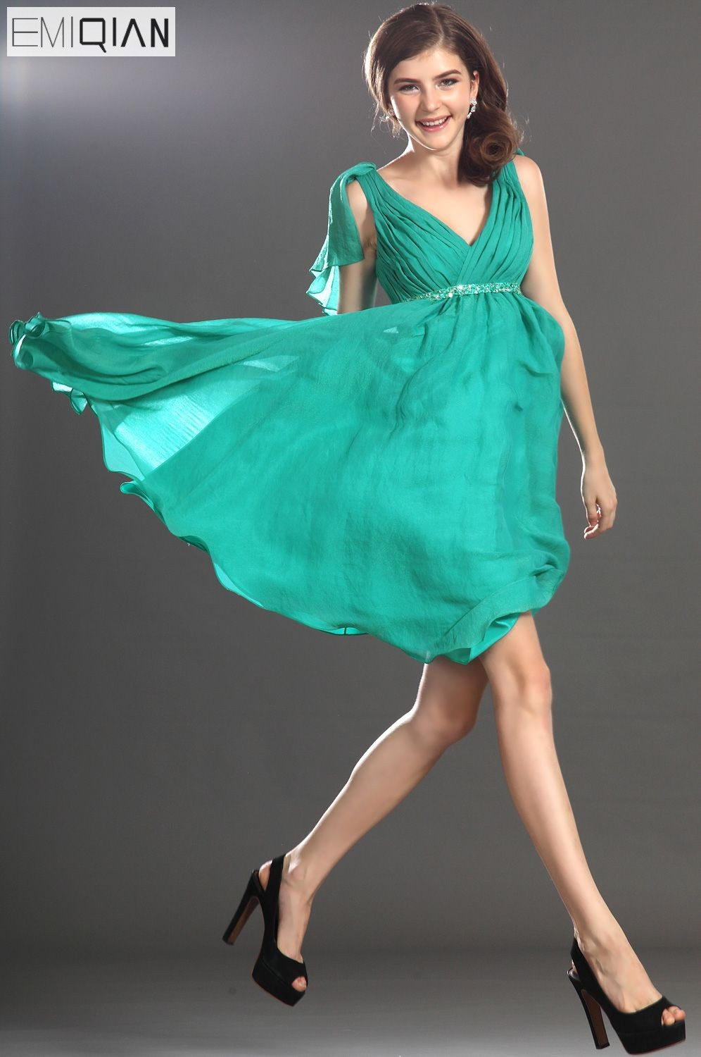 FreeShipping New Lovely Tank A-Line V-Neck Chiffon   Cocktail     Dress