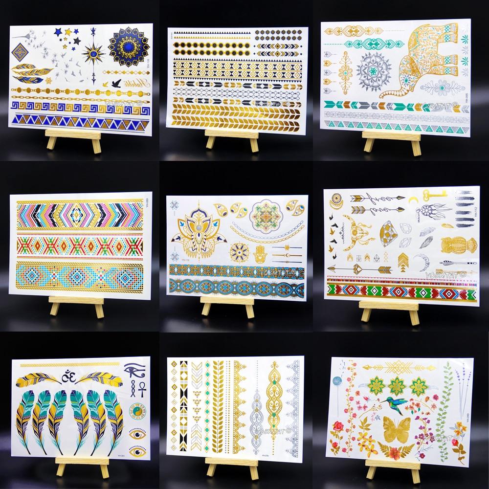 Waterproof Temporary Tattoo Women Henna Body Arm Art Fake Flash Tatoos Gold  Silver Metallic Tatoo Stickers Girl Bracelet Wrist