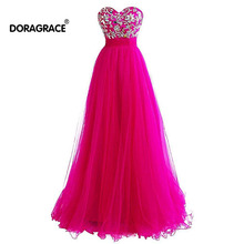 Doragrace Sweetheart Chiffon Beaded Prom Dresses Long Evening Formal Gowns Hot Pink