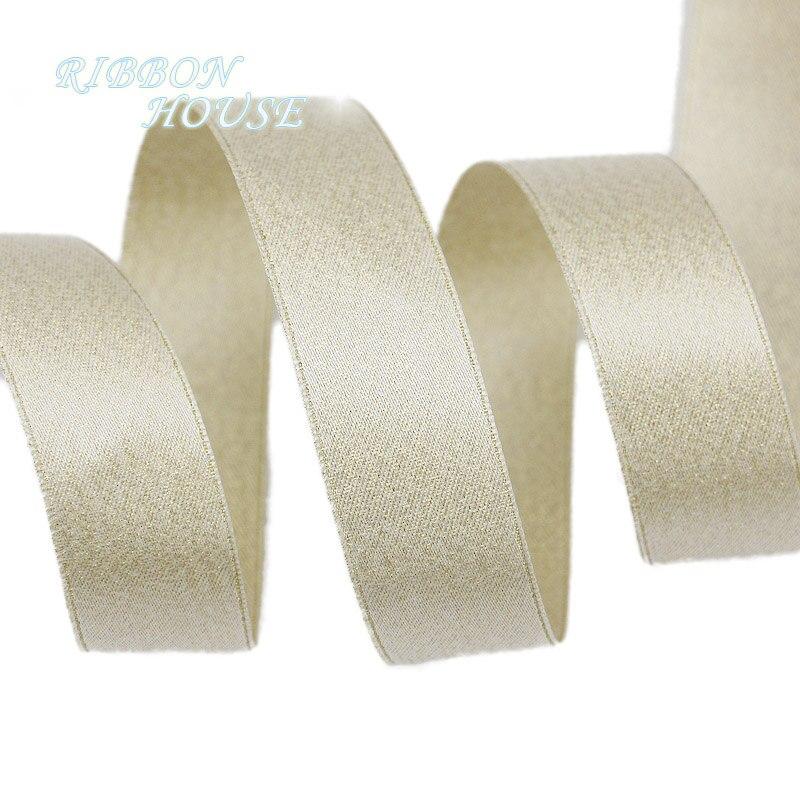(Мм 5 м/лот) 25 мм Белое золото блестящие double face сатиновая подарочная лента свадебные ленты