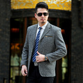 Mens Stage Wear Striped Blazer Men's Fashion Korean Suits For Men Plus-size Cultivate One's Morality Terno Slim Fit Jacket Suits