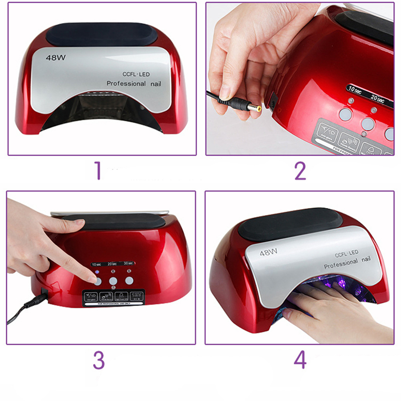 Brand New Professional 48W CCFL LED Lamp Nail Dryers For Nail Gel Polish Curing EU Plug Fashion Red Nail Tools Electric 12V brand new a155 6 48 288