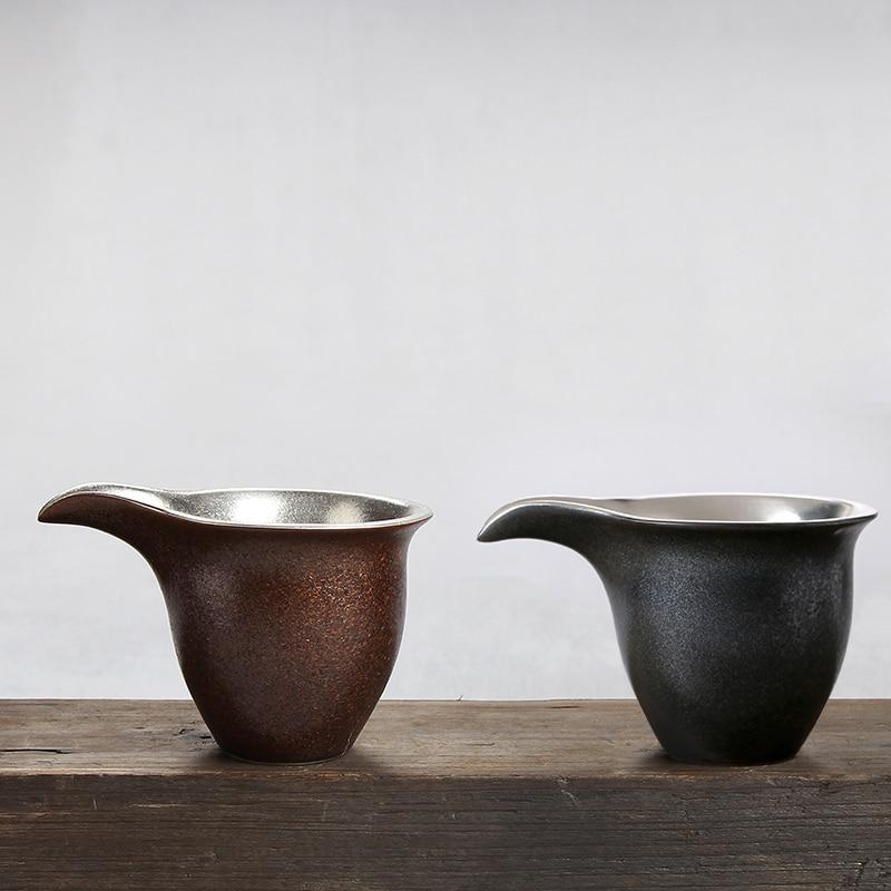 Japanese style Silver Fair Cup Handmade Ceramic Coarse Pottery Chahai Office Tea Ceremony Accessories Coffee Milk Mug Collection