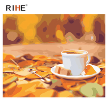 RIHE Cafe Diy Painting By Numbers Great Atmosphere Oil Painting On Canvas Cup Cuadros Decoracion Acrylic Wall Picture Home Decor rihe fall park diy painting by numbers chair woman oil painting on canvas cuadros decoracion acrylic wall picture home decor