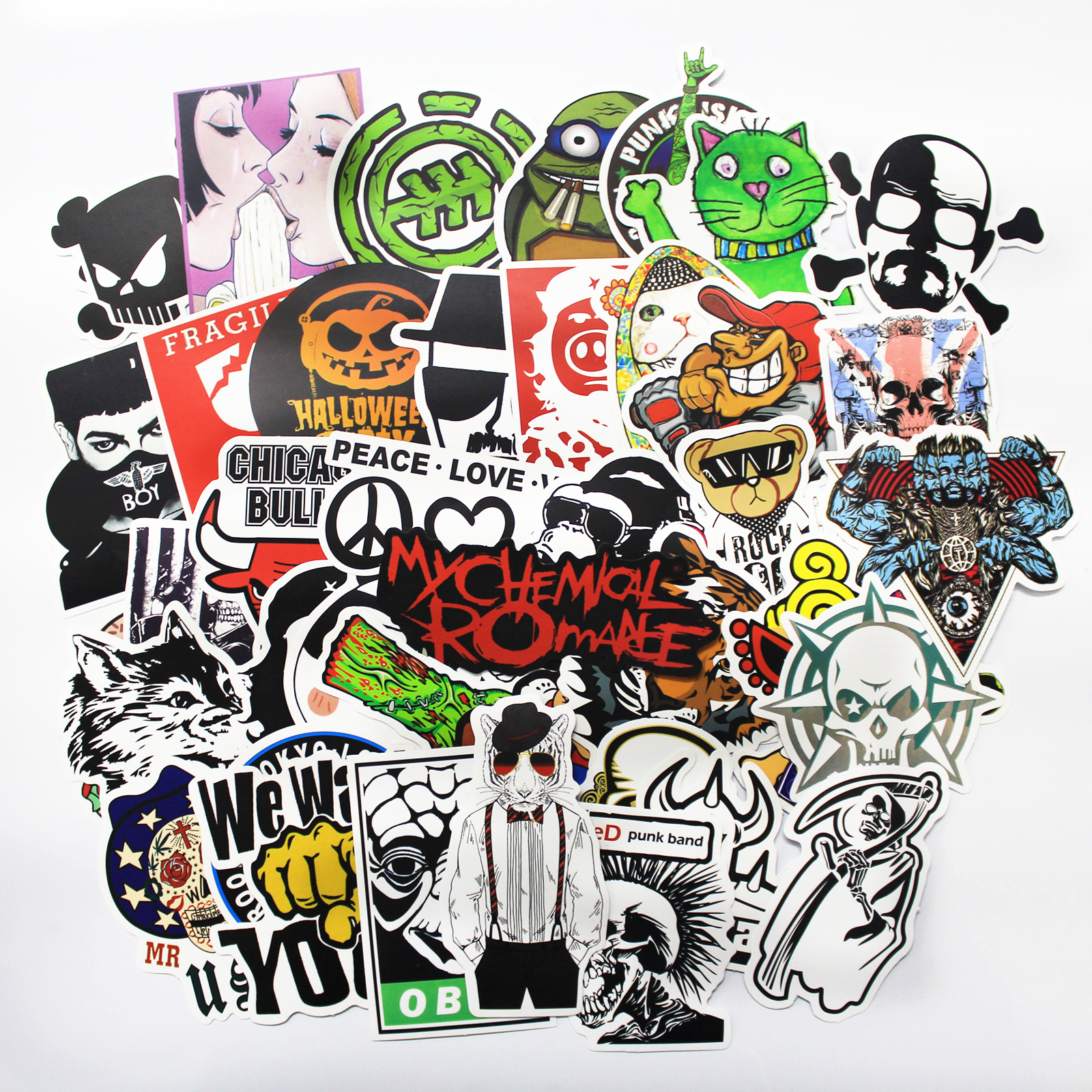 100 pcs Fashion cool DIY Stickers for Skateboard Laptop Luggage Snowboard Fridge Phone toy Styling home