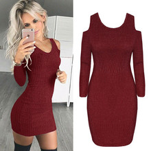 new And American Style Sexy And Club Solid Mini Dresses Woman Spring Autumn Basic Long Sleeve Sheath Knit Female Dresses girls dresses 2018 new european and american style spring pattern solid long sleeves blue girl dresses for 4 16 year ds580