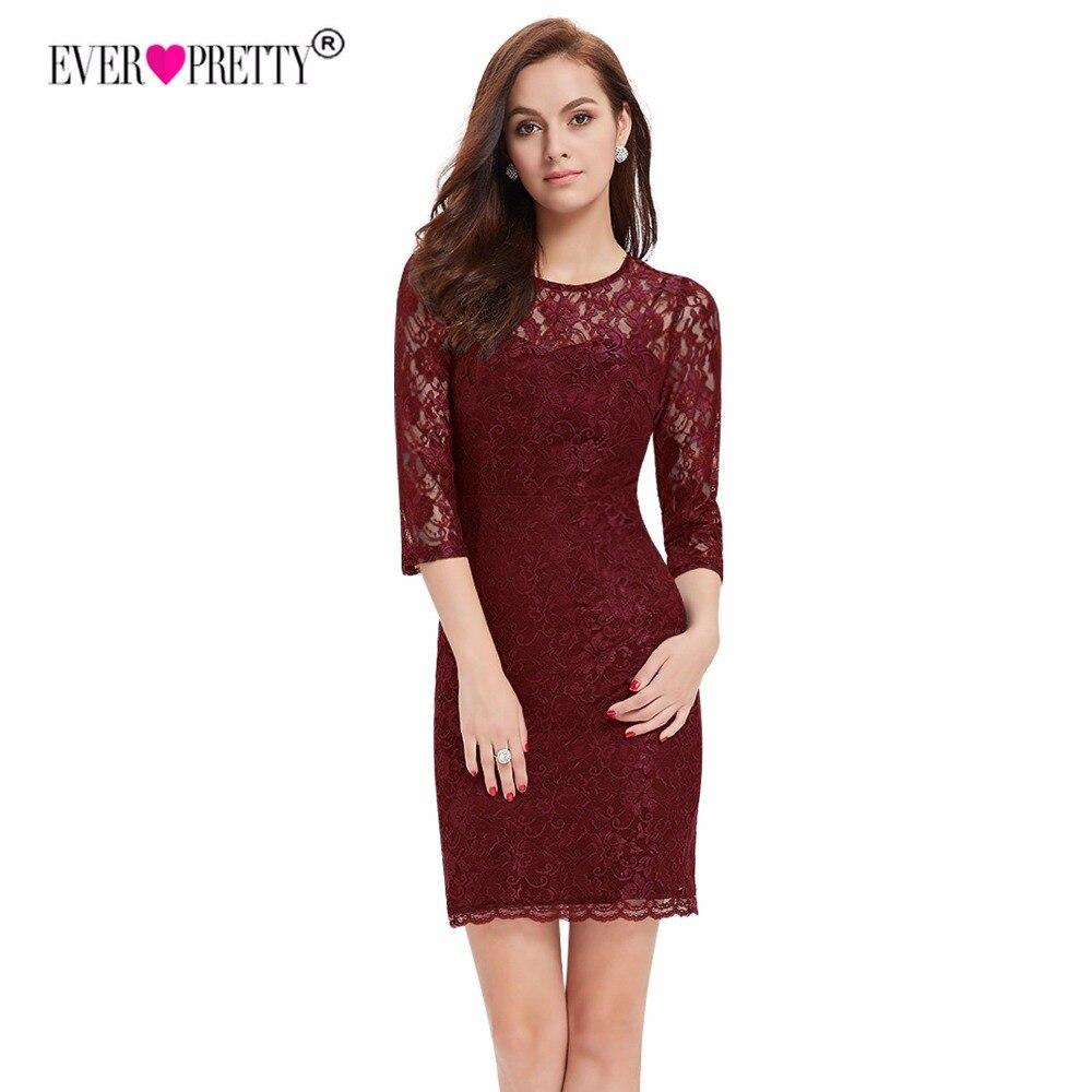 [מכירת חיסול] קוקטייל שמלת HE03792 אי פעם די חדש אופנה מסיבת אלגנטי שלושה רובע שרוול Slim תחרה שחור שמלה 2018