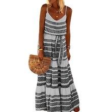Plus Size Summer Boho Dress Women Floral Dresses Sleeveless Beach Sundress Strappy V Neck Evening Party Bohemian Vestidos S-5XL
