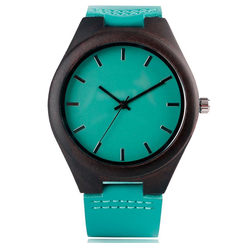 Mens Watch Wood Blue leather Distinctive Modern Simple Unique Analog Wrist Quartz Watches Fashion Bamboo Nature Wooden Clock