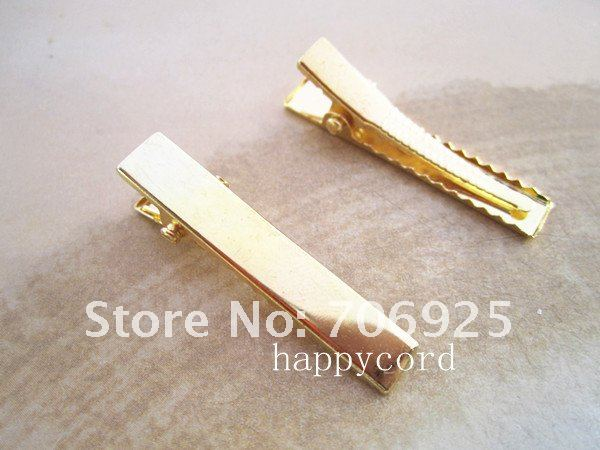 Free shipping Wholesale 6mmx45mm gold plated single prong alligator pinch clips with teeth 100pcs lot in Women 39 s Hair Accessories from Apparel Accessories