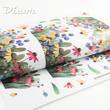 DICOR Beautiful Lavender Wall Sticker Flowers Colorful Home Decor DIY Removable For Kitchen Livingroom Bedroom QTM523-4