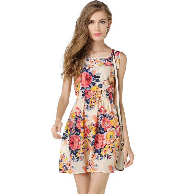 Buy Cheap LG1138 S - XL Tropical Beach Dress Women Plaid Stripe Flower Print Bohemian Chiffon Tank Dress Sexy Elastic Waistband 19 Color