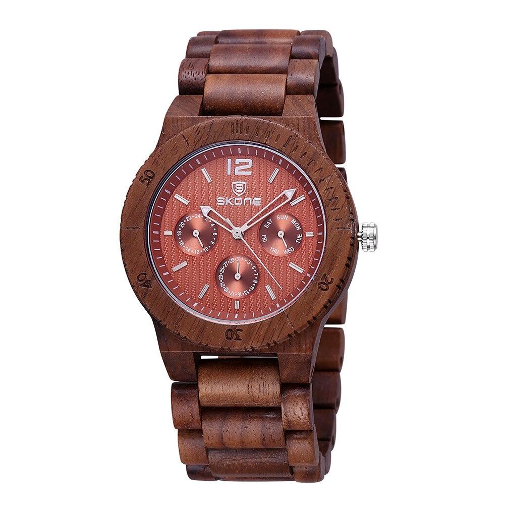 ФОТО SKONE Luxury  Brand Men Dress Watch Wooden Quartz Watch with Calendar Display Bangle Natural Wood Watches Best Gift Relogio