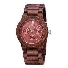 Сконе люксового бренда мужчины платье часы деревянный кварцевые часы с календарем дисплей браслет из натурального дерева часы лучший подарок Relogio