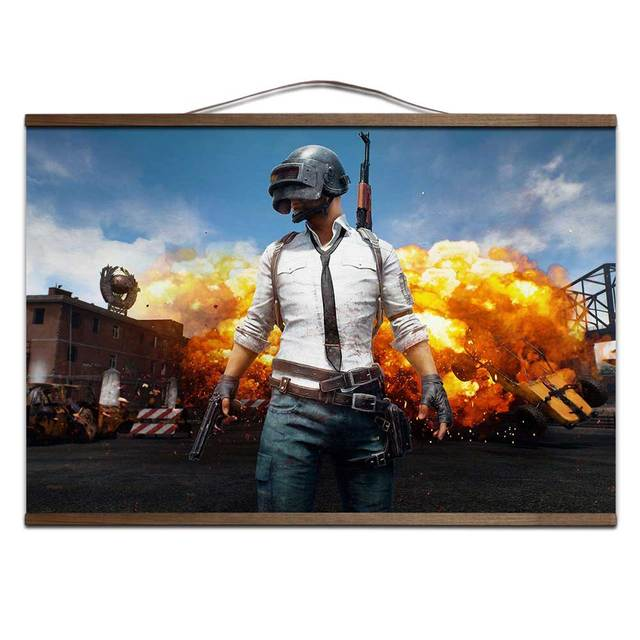 playerunknown's battlegrounds PUBG poster for HD canvas poster decoration painting with solid wood hanging scroll