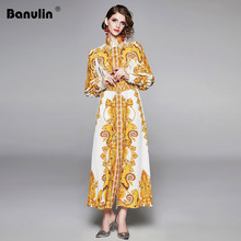 Banulin Fashion Runway Designer Maxi Dress Women Vintage Print Sexy Slit Long Sleeve Elegant Autumn Party Dresses with Belt