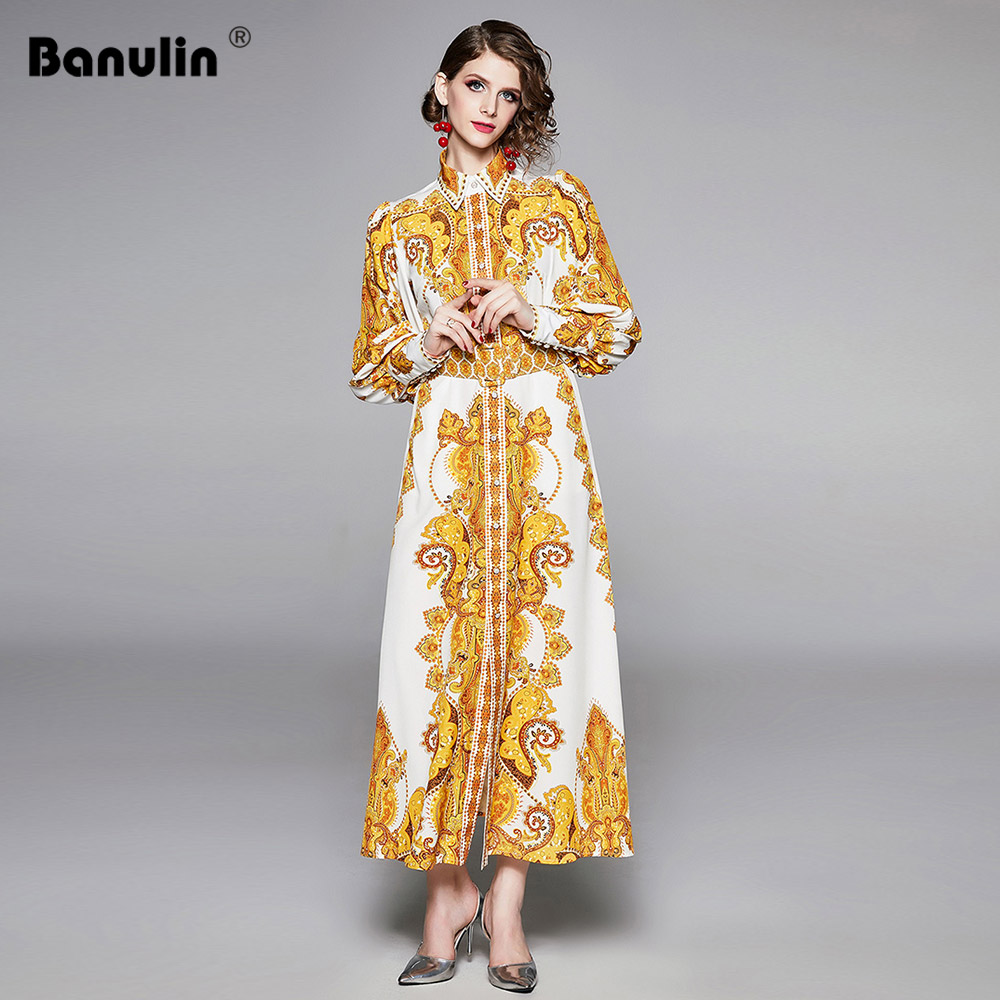 Banulin Fashion Runway Designer <font><b>Maxi</b></font> <font><b>Dress</b></font> Women Vintage Print <font><b>Sexy</b></font> <font><b>Slit</b></font> Long Sleeve Elegant Autumn Long Party <font><b>Dresses</b></font> with Belt image