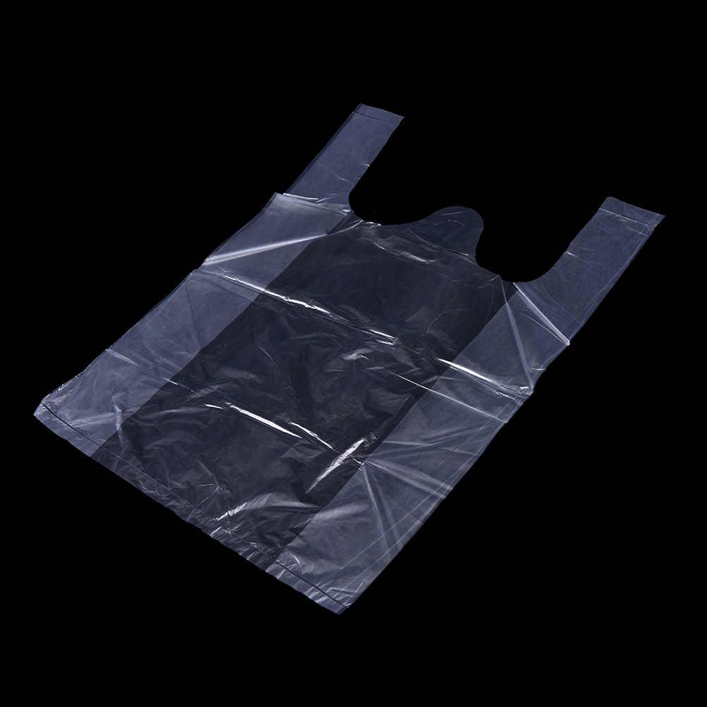 40/50/52/100 Pcs 20*30 cm 24*34 cm Carry Out Tassen Retail supermarkt Boodschappen Plastic Zakken Met Handvat Voedsel Verpakking