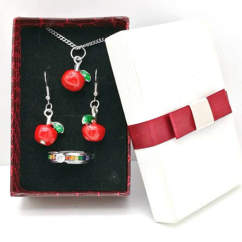 24PCS Rectangle White + Red Earrings Necklace Pendant Ring Set Boxes Jewelry & Jewelry Gift Set Box90x60 x30MM Fashion