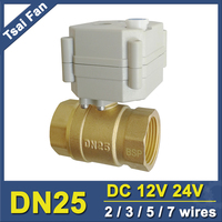 3 Wires 12 24VDC Electrically Operated Valve Brass BSP NPT 1 With Manual Override For Water