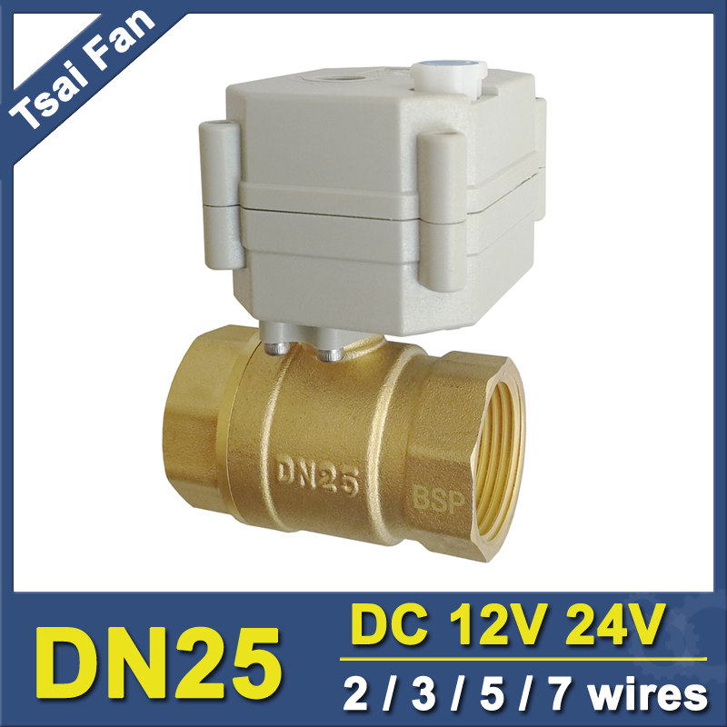 With Manual Override Electric Shut Off Valve DC12V/24V 2/3/5/7 Wires Brass 1'' BSP/NPT DN25 Full Port Metal Gear High Quality bsp npt 1 pvc dn25 electric shut off valve tf25 p2 c dc12v cr303 wiring 10nm on off 15 sec metal gear for water control