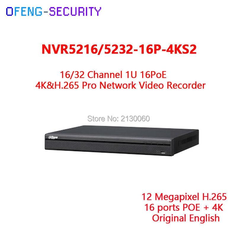 Dahua 2HDD 4K NVR NVR5216-16P-4KS2E 16CH with 16 poe & NVR5232-16p-4KS2E 32ch with 16 PoE ports Support 800m PoE ePoE & EoC dahua 32ch nvr 16 poe 2u case 8 sata 1080p 200mbps gigabit rj45 android ios