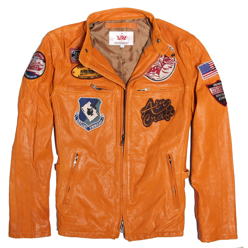 Men's Genuine Leather Jacket, Men Leather Coat Yellow Black, Patches 100% Tanned Goatskin Flight Jacket