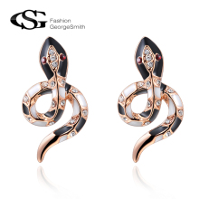 GS Charms Stud Earrings for Women Rose Gold Black Snake Women Earrings Female Fashion Jewelry Personality Earring 2017
