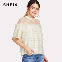 SHEIN Pearl Beading Raw Hem Tweed Top Women Beige Round Neck Short Sleeve Mesh Blouse 2018