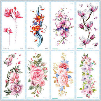 Rocooart QC Flowers Arms Tattoo Colorful Taty Body Art Waterproof Temporary Tattoo Stickers Rose Fake Tattoo Orchid Tatouage