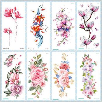 Rocooart QC kwiaty ramiona tatuaż kolorowe Taty tatuaże do ciała wodoodporne tymczasowe naklejki z tatuażami Rose fałszywy tatuaż Orchid Tatouage tanie i dobre opinie 21x10 CM QC series Tymczasowy tatuaż