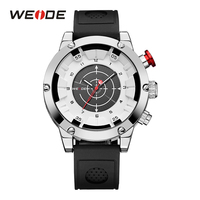 WEIDE Mens Sport White Analog Watch LCD Digital Display Quartz Movement Man Clocks Outdoor Silicone Band