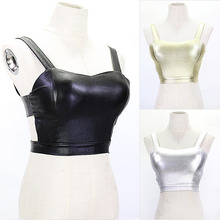 Gold Silver Sexy Backless Vest Tight Leather Pu Tops Cropped Halter  Bar Nightclub Blusa Crop Top Brandy Melville BX001-923