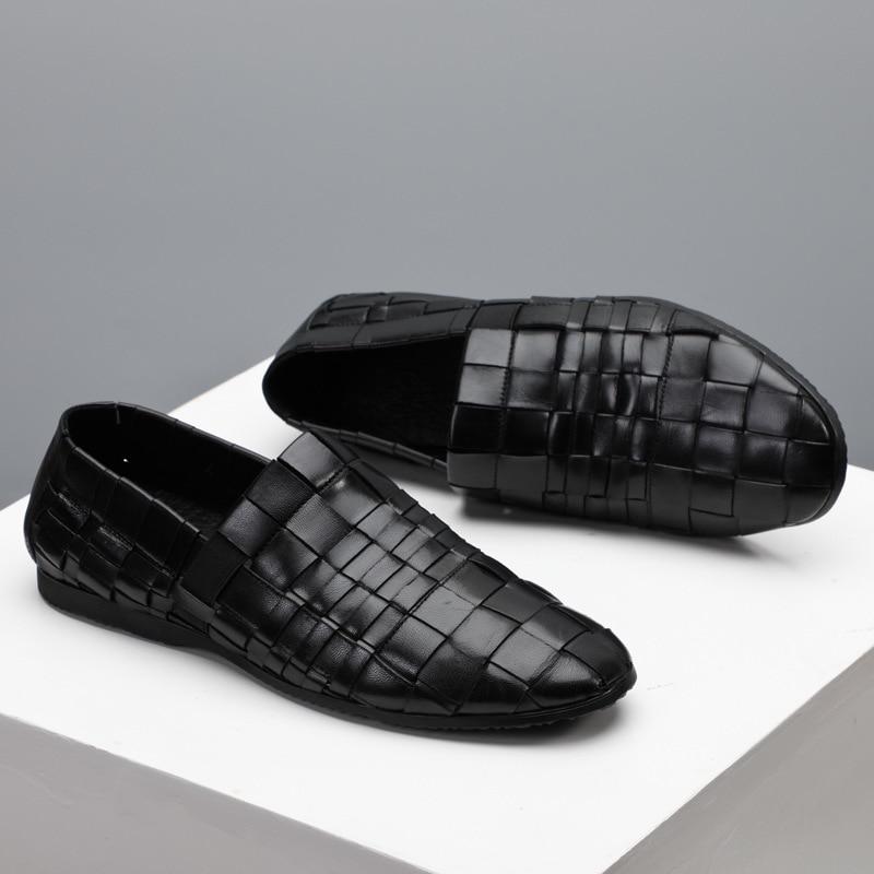 Nouveau hommes tendance chaussures 100% tricoté à la main en cuir véritable chaussures angleterre en cuir hommes respirant affaires chaussures décontractées hommes - 2