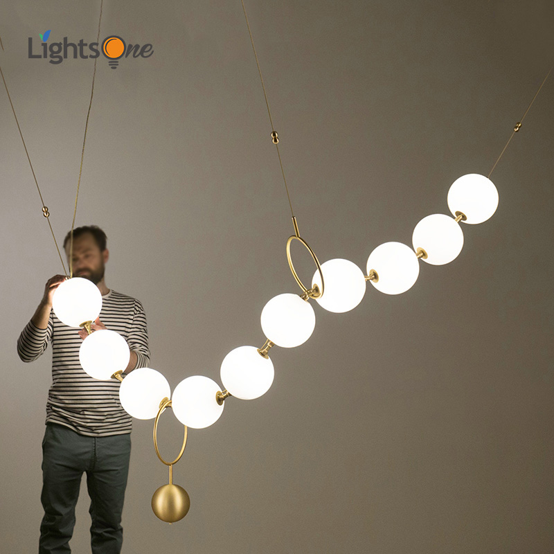 Postmodern Nordic Living Room American Style pendant lamp Restaurant Glass Ball Necklace Creative pendant lights