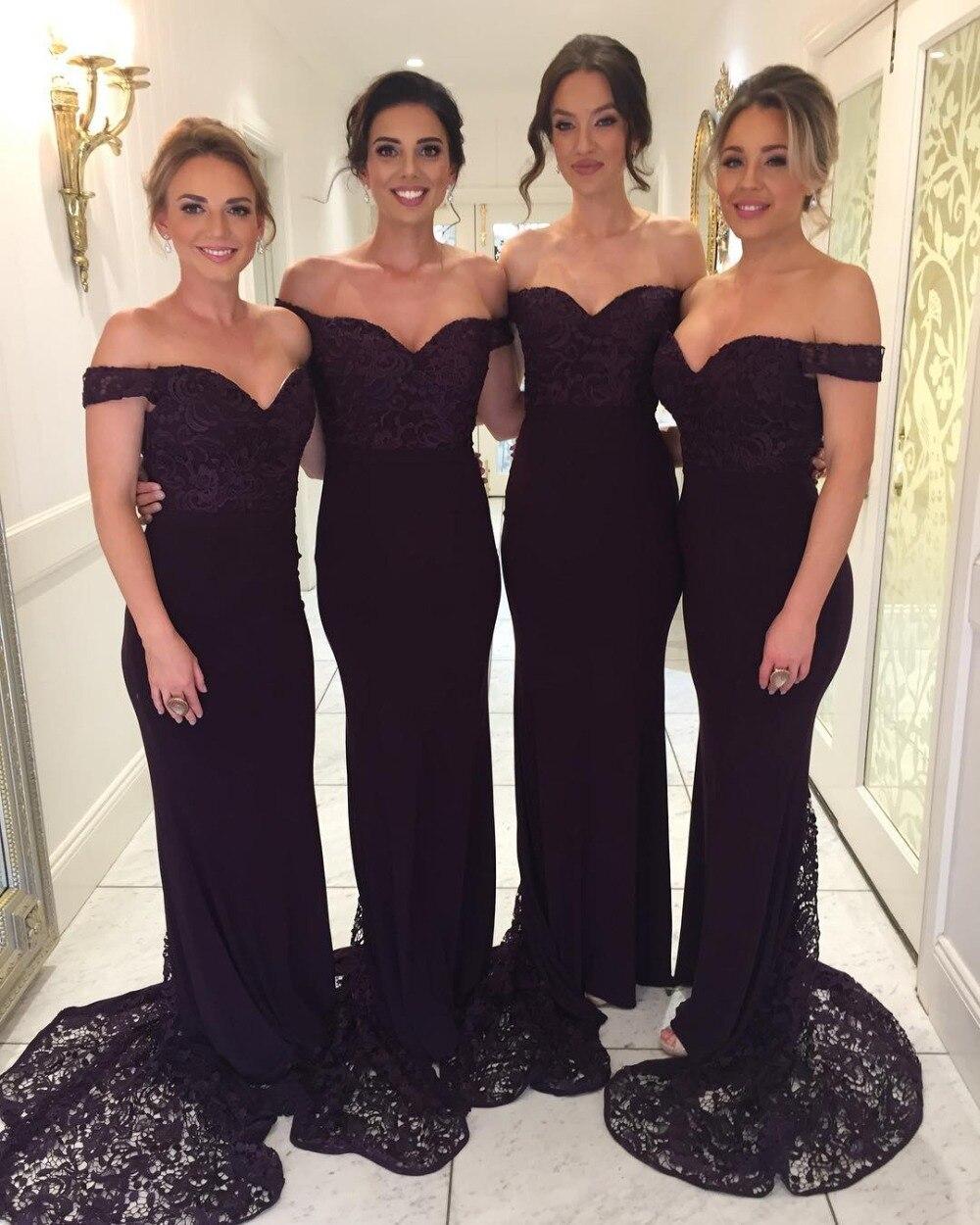 Robe Demoiselle D'honneur Sexy V Neck Purple Mermaid Bridemaid Dresses 2019 Off The Shoulder Prom Dresses Wedding Party Gowns