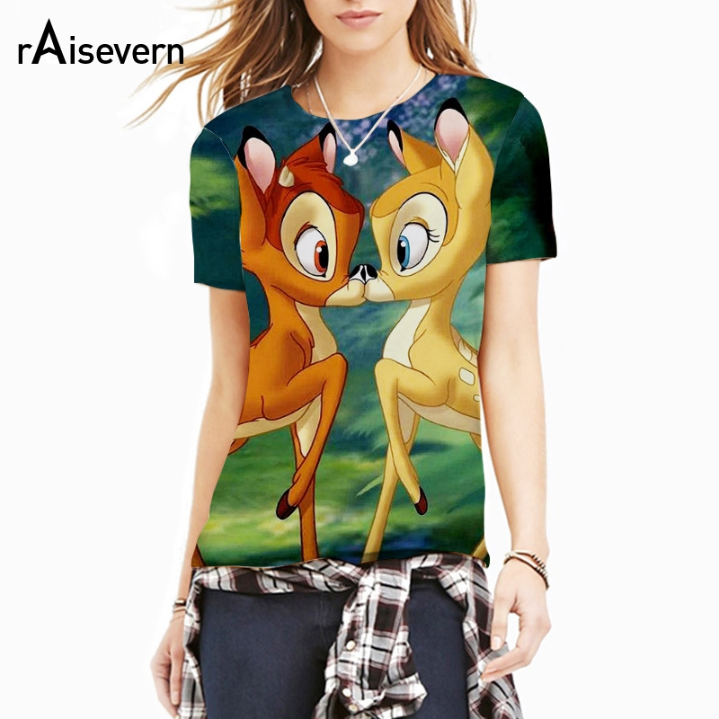 Raisevern Cute Cartoon   T  -  shirt   Bambi Deer/Grumpy Cat/UP Movie/Emoji/Astronaut Print Men Women Tshirt Top   T     Shirt