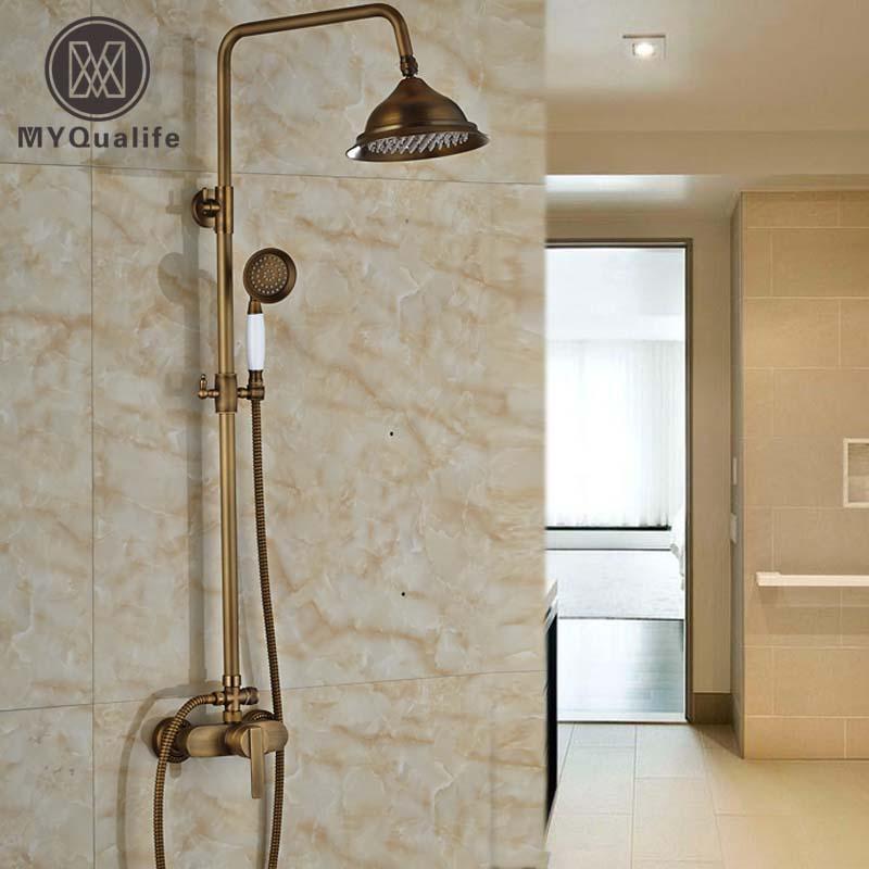 Rain Shower Faucets Antique Brass Shower Mixer Taps with 8 inch Shower Head + Hand Shower