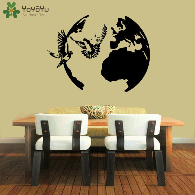Aliexpress.com : Buy Globe Wall Decal Doves Flying Peace Vinyl Wall ...