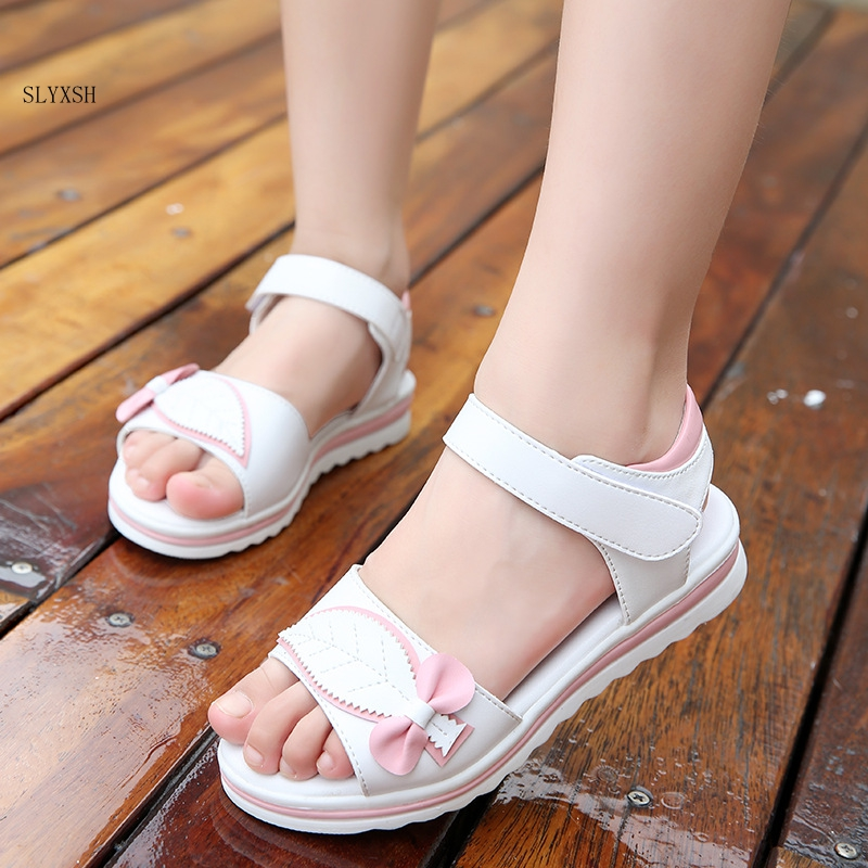 SLYXSH Girls Sandals 2019 New Students Korean Version Of The Tide Summer Thick Bottom Little Princess Soft Bottom Shoes