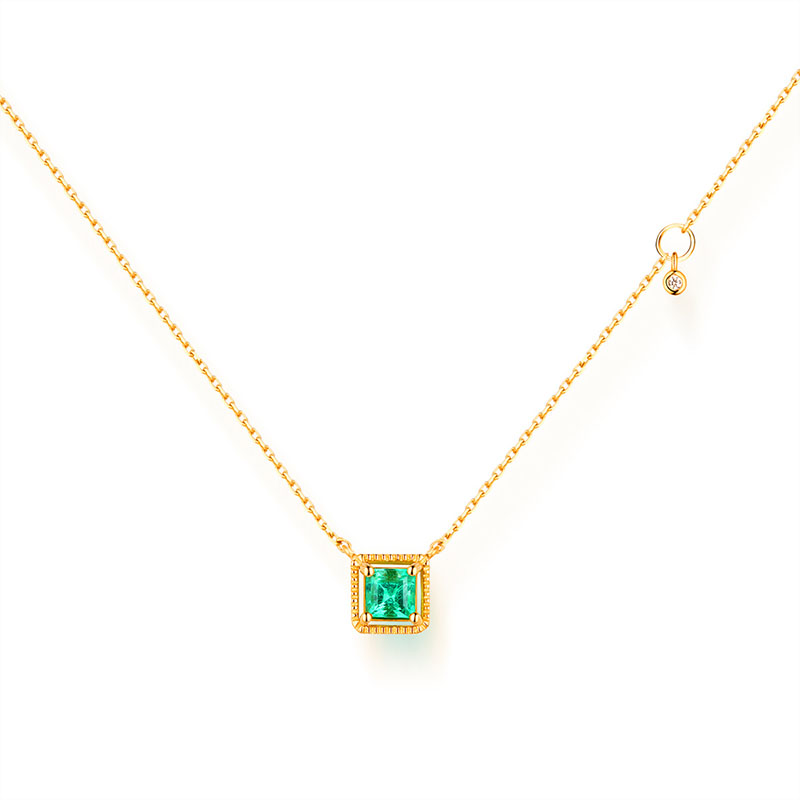 ANI 14K Yellow Gold Pendant Necklace 3.5mm Natural Emerald Color Gemstone Fine Jewelry Fashion Women Engagement Necklace Gift