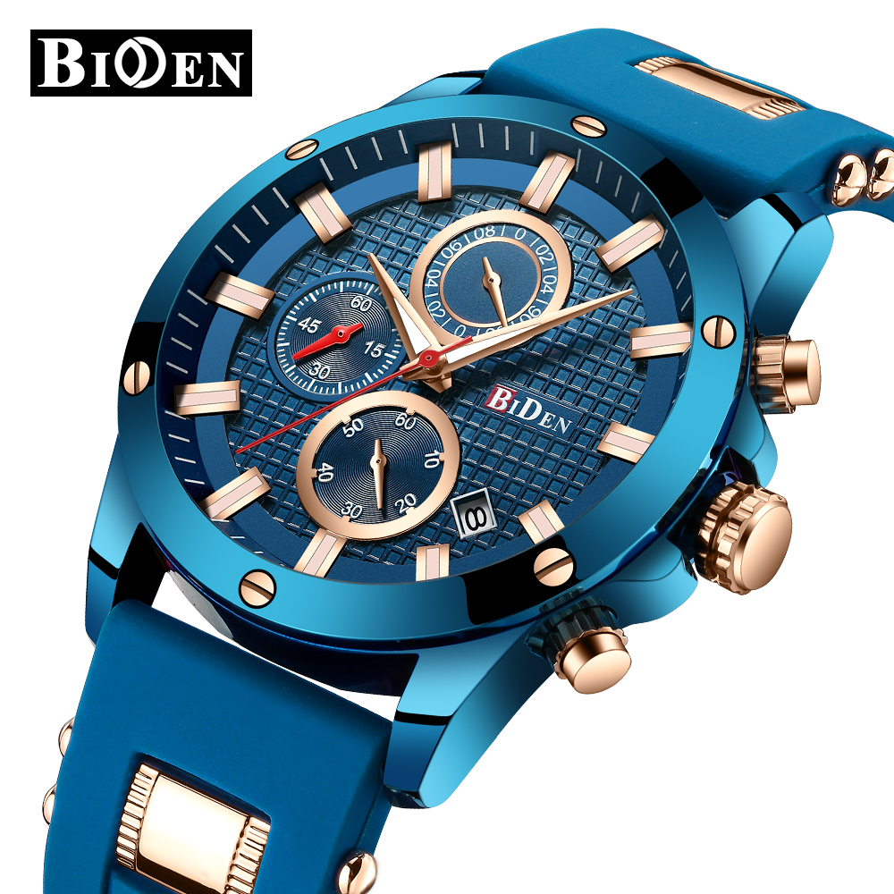 BIDEN Blue Chronograph Watch 2018 Men's Fashion Sport Watches Analog Quartz Date Clock Silicone Military Watch Relogio Masculino