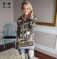 2016 Autumn New Women Shirt Army Green Tops Gilrs Fashion Long Sleeve Camouflage BlousePrint Shirts