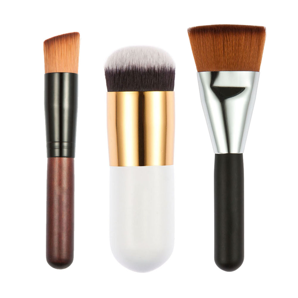 3pcs Makeup Brushes Flat Contour Brush + Fat Head Brush + Oblique Head Brush for Blush Foundation Powder Cosmetic Tool new design stamp seal shape face makeup brush foundation powder blush contour brush cosmetic facial brush cosmetic makeup tool