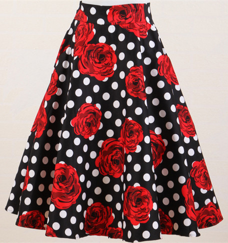 women vintage 50s polka dot rose floral high waist puff rockabilly skirt  plus size cotton saia femininas skirts c554cd9a4359