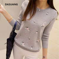 DASUANG Flower Embroidery Women Sweaters 2017 Korean Autumn Winter New Fashion Casual Pullovers Long Sleeve O
