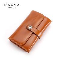 KAVYA New women wallet cowhide wallet genuine leather women three fold purse short design fashion coin wallet free shipping